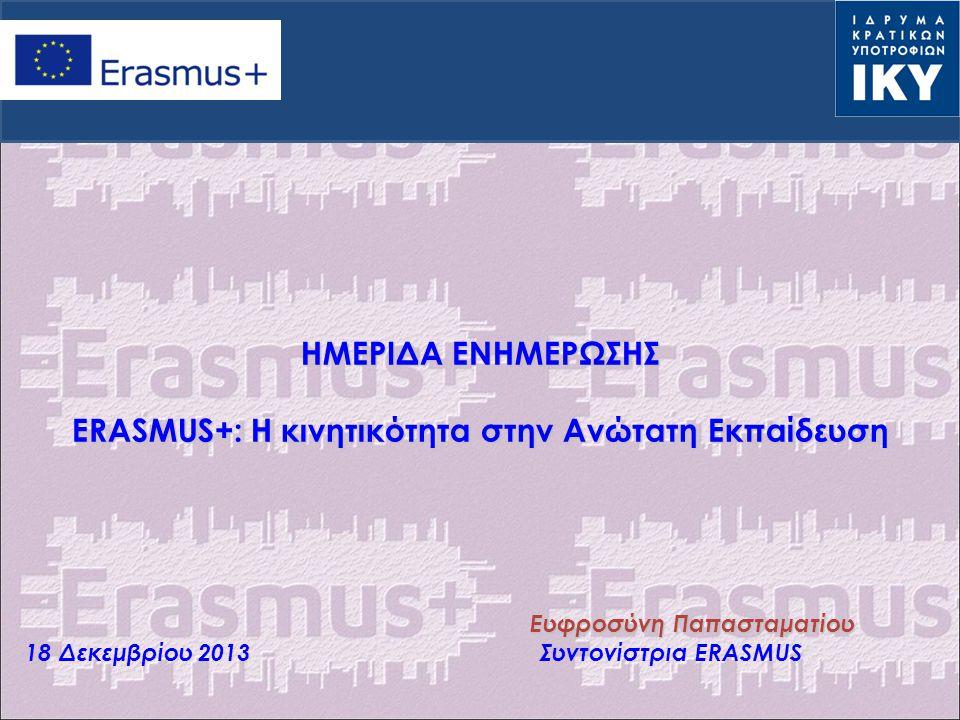 Πρόγραμμα Νεολαία σε Δράση Διεθνή Προγράμματα Ανώτατης Εκπαίδευσης Erasmus Mundus, Tempus, Alfa, Edulink Διμερή Προγράμματα Συνεργασίας Erasmus Grundtvig Leonardo Comenius Πρόγραμμα Δια Βίου Μάθηση Ένα ενιαίο πρόγραμμα ERASMUS+ ΥΠΑΡΧΟΝΤΑ ΠΡΟΓΡΑΜΜΑΤΑ 3 βασικοί πυλώνες 1.