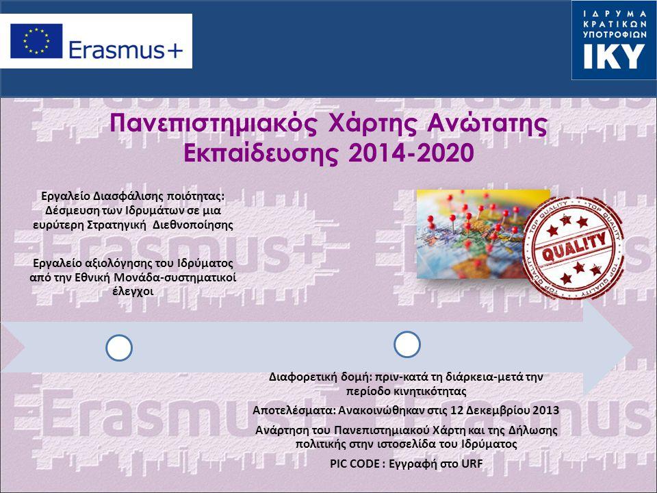 Πανεπιστημιακός Χάρτης Ανώτατης Εκπαίδευσης 2014-2020 Εργαλείο Διασφάλισης ποιότητας: Δέσμευση των Ιδρυμάτων σε μια ευρύτερη Στρατηγική Διεθνοποίησης