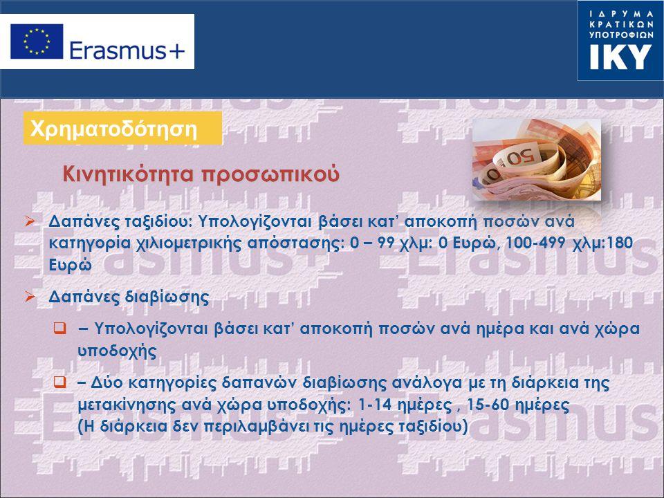  Οι οργανωτικές δαπάνες υπολογίζονται βάσει κατ' αποκοπή ποσών ανά μετακινούμενο, ανά κλίμακα  ERASMUS+: Το ποσό ανά μετακινούμενο καθώς και οι κλίμακες, καθορίζονται από την Ευρωπαϊκή Επιτροπή  1 η Κλίμακα: 1-100 μετακινούμενοι – 350 € /ανά μετακινούμενο  2 η Κλίμακα: >100 μετακινούμενοι – 200 €/ανά μετακινούμενο  Το κονδύλι των οργανωτικών δαπανών στο νέο πρόγραμμα ERASMUS+ είναι ΔΙΠΛΑΣΙΟ από αυτό του LLP ΟΡΓΑΝΩΤΙΚΕΣ ΔΑΠΑΝΕΣ (I) Χρηματοδότηση ΝΕΟ