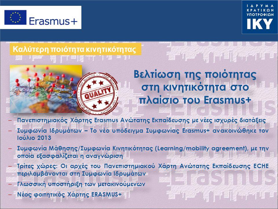 Πανεπιστημιακός Χάρτης Ανώτατης Εκπαίδευσης 2014-2020 Εργαλείο Διασφάλισης ποιότητας: Δέσμευση των Ιδρυμάτων σε μια ευρύτερη Στρατηγική Διεθνοποίησης Εργαλείο αξιολόγησης του Ιδρύματος από την Εθνική Μονάδα-συστηματικοί έλεγχοι Διαφορετική δομή: πριν-κατά τη διάρκεια-μετά την περίοδο κινητικότητας Αποτελέσματα: Ανακοινώθηκαν στις 12 Δεκεμβρίου 2013 Ανάρτηση του Πανεπιστημιακού Χάρτη και της Δήλωσης πολιτικής στην ιστοσελίδα του Ιδρύματος PIC CODE : Εγγραφή στο URF