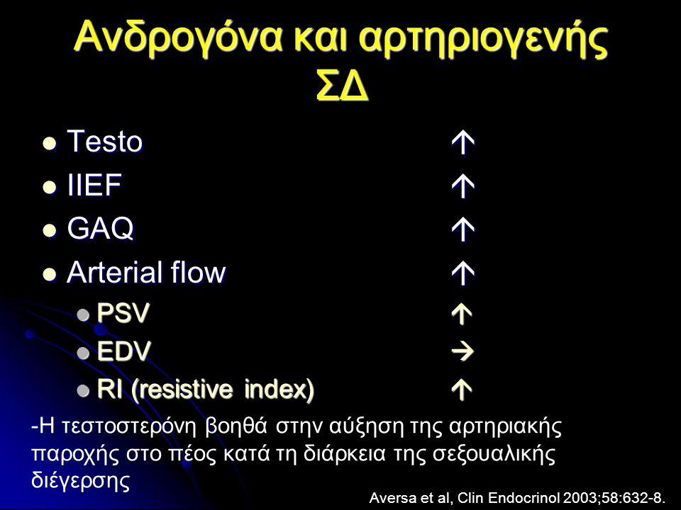 Ανδρογόνα και αρτηριογενής ΣΔ  Testo   IIEF   GAQ   Arterial flow   PSV   EDV   RI (resistive index)  Aversa et al, Clin Endocrinol 2003;58:632-8.