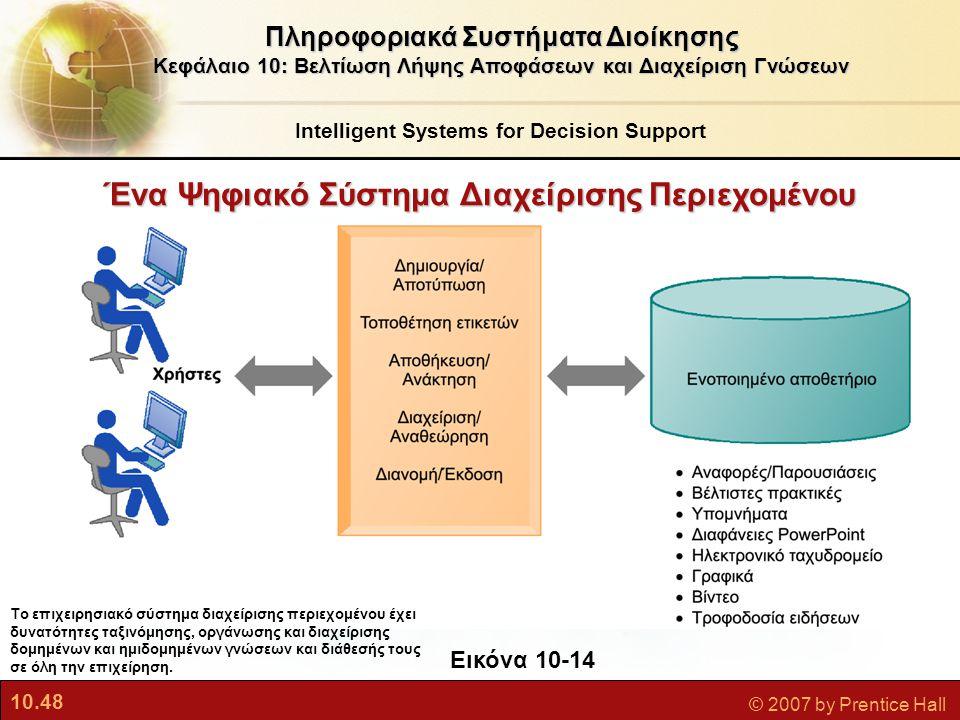 10.48 © 2007 by Prentice Hall Πληροφοριακά Συστήματα Διοίκησης Κεφάλαιο 10: Βελτίωση Λήψης Αποφάσεων και Διαχείριση Γνώσεων Εικόνα 10-14 Το επιχειρησι