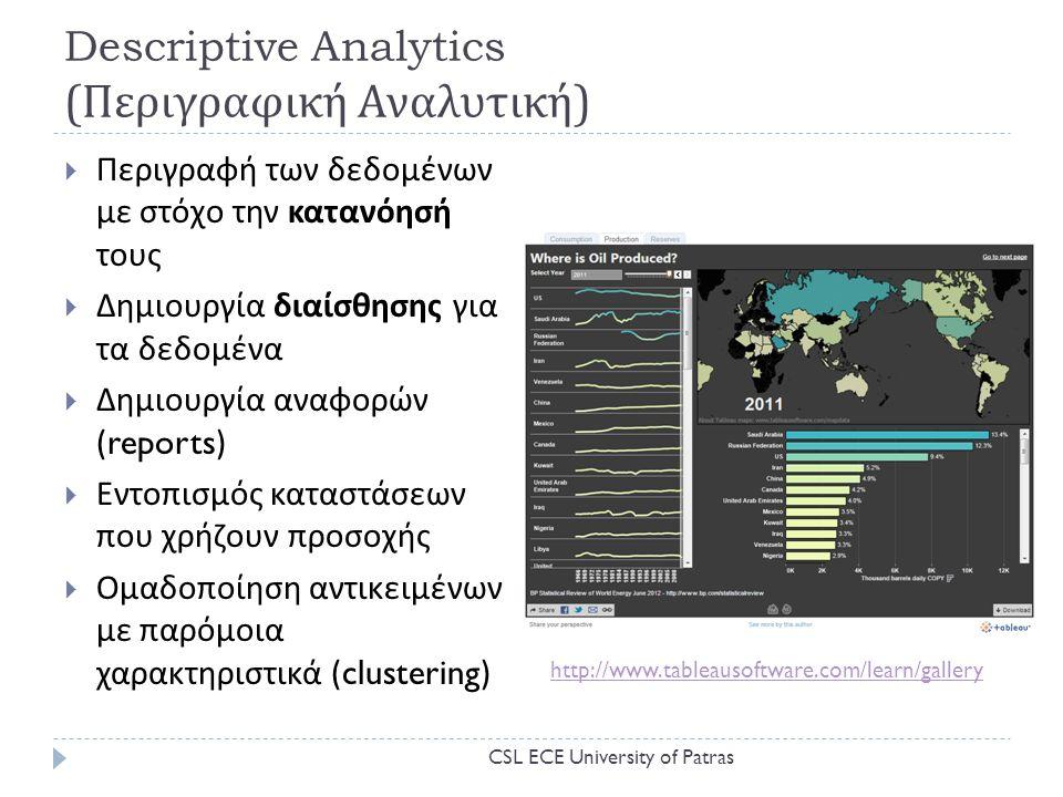 Descriptive Analytics ( Περιγραφική Αναλυτική )  Περιγραφή των δεδομένων με στόχο την κατανόησή τους  Δημιουργία διαίσθησης για τα δεδομένα  Δημιουργία αναφορών (reports)  Εντοπισμός καταστάσεων που χρήζουν προσοχής  Ομαδοποίηση αντικειμένων με παρόμοια χαρακτηριστικά (clustering) http://www.tableausoftware.com/learn/gallery CSL ECE University of Patras