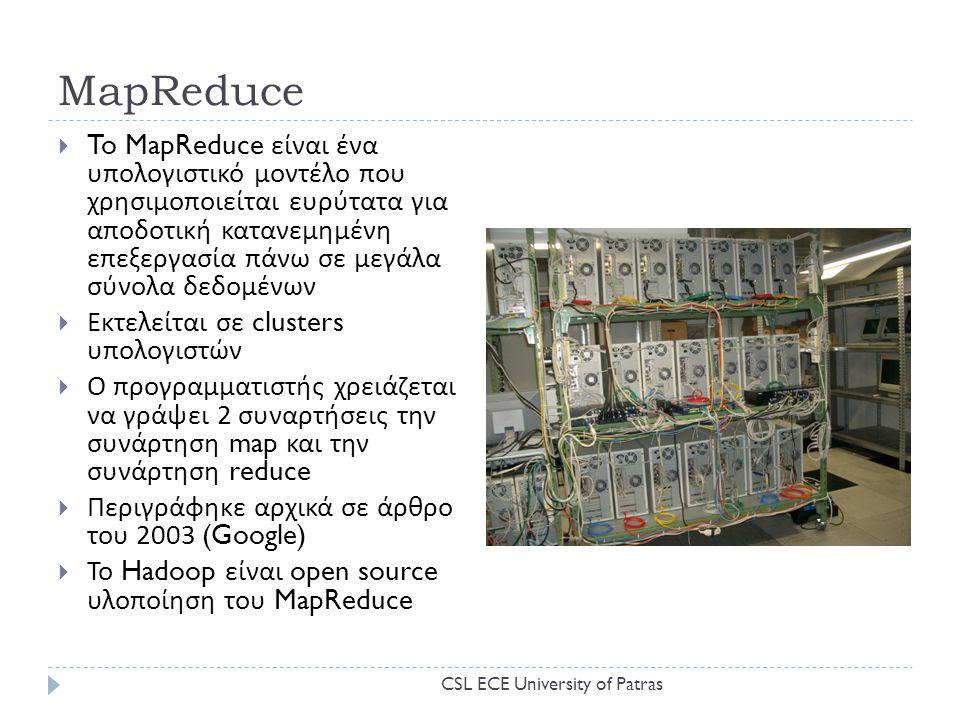 MapReduce  To MapReduce είναι ένα υπολογιστικό μοντέλο που χρησιμοποιείται ευρύτατα για αποδοτική κατανεμημένη επεξεργασία πάνω σε μεγάλα σύνολα δεδομένων  Εκτελείται σε clusters υπολογιστών  Ο προγραμματιστής χρειάζεται να γράψει 2 συναρτήσεις την συνάρτηση map και την συνάρτηση reduce  Περιγράφηκε αρχικά σε άρθρο του 2003 (Google)  Το Hadoop είναι open source υλοποίηση του MapReduce CSL ECE University of Patras