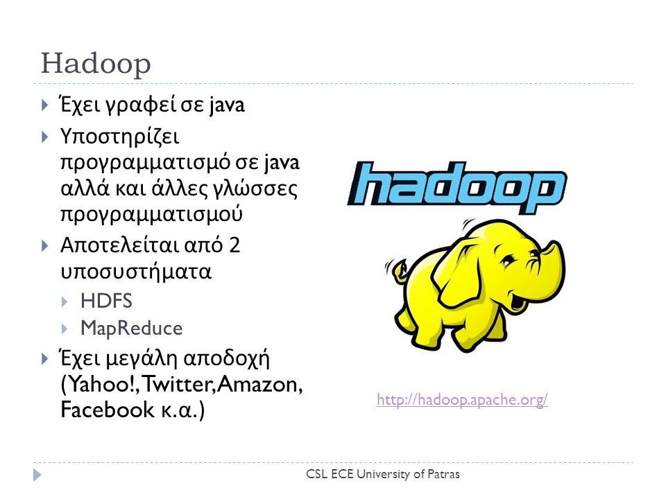 Hadoop  Έχει γραφεί σε java  Υποστηρίζει προγραμματισμό σε java αλλά και άλλες γλώσσες προγραμματισμού  Αποτελείται από 2 υποσυστήματα  HDFS  MapReduce  Έχει μεγάλη αποδοχή (Yahoo!, Twitter, Amazon, Facebook κ.