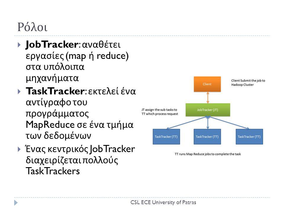 Ρόλοι  JobTracker: αναθέτει εργασίες (map ή reduce) στα υπόλοιπα μηχανήματα  TaskTracker: εκτελεί ένα αντίγραφο του προγράμματος MapReduce σε ένα τμήμα των δεδομένων  Ένας κεντρικός JobTracker διαχειρίζεται πολλούς TaskTrackers CSL ECE University of Patras