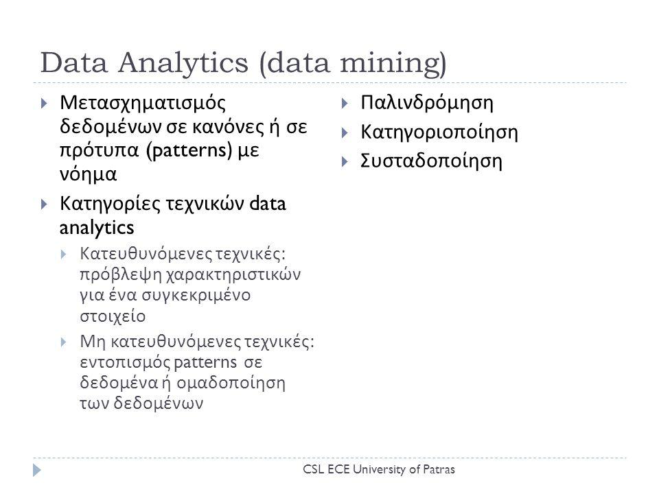 Data Analytics (data mining)  Μετασχηματισμός δεδομένων σε κανόνες ή σε πρότυπα (patterns) με νόημα  Κατηγορίες τεχνικών data analytics  Κατευθυνόμενες τεχνικές : πρόβλεψη χαρακτηριστικών για ένα συγκεκριμένο στοιχείο  Μη κατευθυνόμενες τεχνικές : εντοπισμός patterns σε δεδομένα ή ομαδοποίηση των δεδομένων  Παλινδρόμηση  Κατηγοριοποίηση  Συσταδοποίηση CSL ECE University of Patras