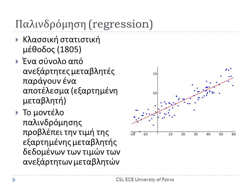 Παλινδρόμηση (regression)  Κλασσική στατιστική μέθοδος (1805)  Ένα σύνολο από ανεξάρτητες μεταβλητές παράγουν ένα αποτέλεσμα ( εξαρτημένη μεταβλητή )  Το μοντέλο παλινδρόμησης προβλέπει την τιμή της εξαρτημένης μεταβλητής δεδομένων των τιμών των ανεξάρτητων μεταβλητών CSL ECE University of Patras