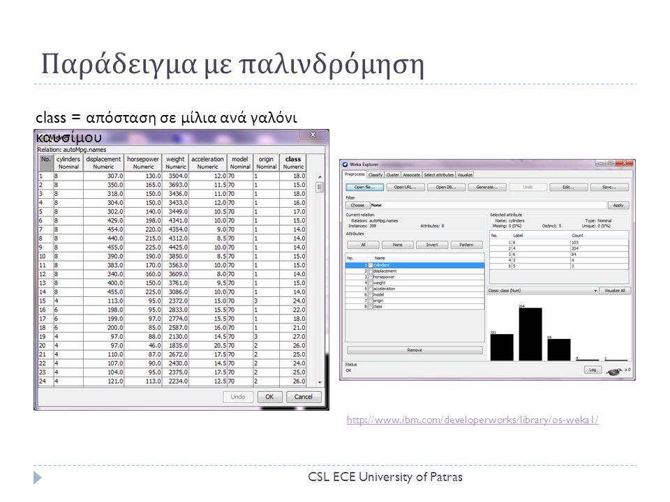 Παράδειγμα με παλινδρόμηση http://www.ibm.com/developerworks/library/os-weka1/ class = απόσταση σε μίλια ανά γαλόνι καυσίμου CSL ECE University of Patras