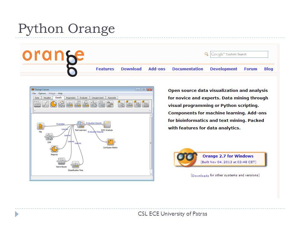 Python Orange CSL ECE University of Patras
