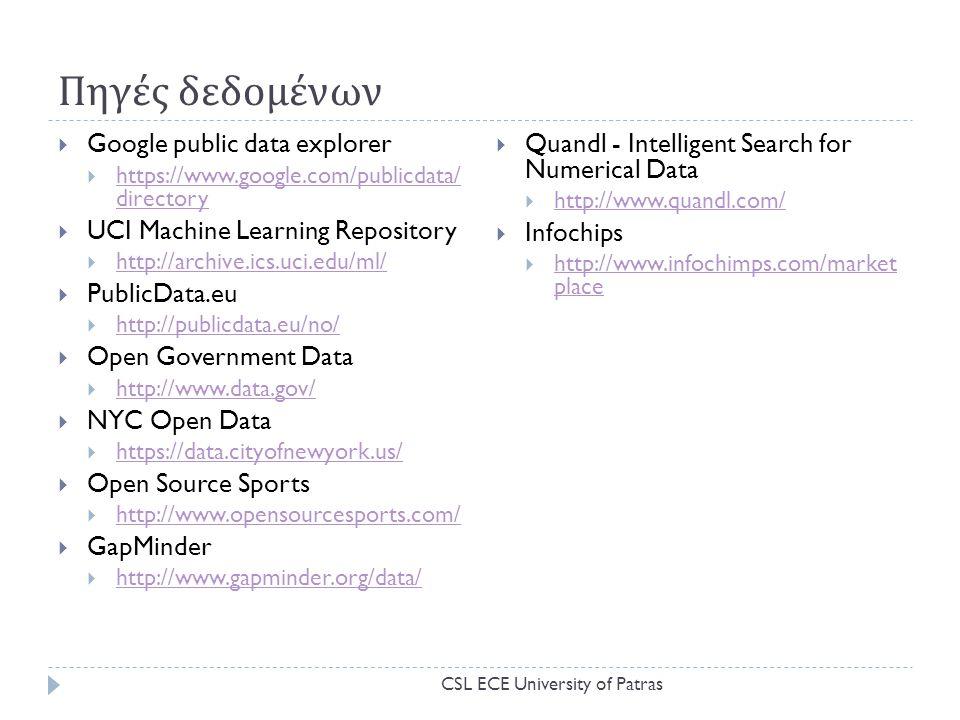Πηγές δεδομένων  Google public data explorer  https://www.google.com/publicdata/ directory https://www.google.com/publicdata/ directory  UCI Machine Learning Repository  http://archive.ics.uci.edu/ml/ http://archive.ics.uci.edu/ml/  PublicData.eu  http://publicdata.eu/no/ http://publicdata.eu/no/  Open Government Data  http://www.data.gov/ http://www.data.gov/  NYC Open Data  https://data.cityofnewyork.us/ https://data.cityofnewyork.us/  Open Source Sports  http://www.opensourcesports.com/ http://www.opensourcesports.com/  GapMinder  http://www.gapminder.org/data/ http://www.gapminder.org/data/  Quandl - Intelligent Search for Numerical Data  http://www.quandl.com/ http://www.quandl.com/  Infochips  http://www.infochimps.com/market place http://www.infochimps.com/market place CSL ECE University of Patras