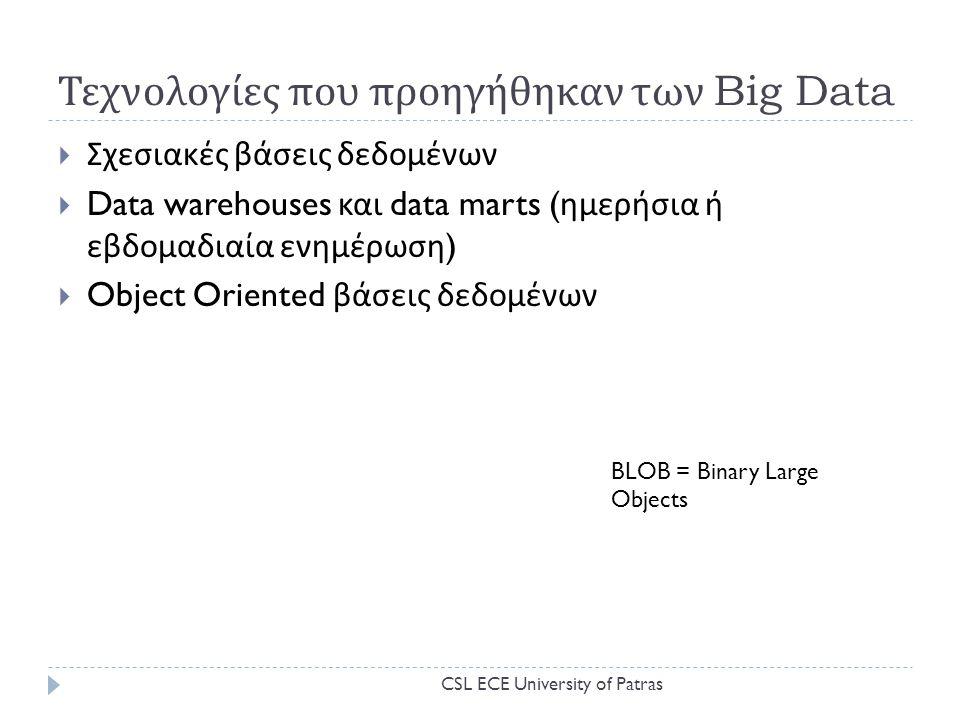 Τεχνολογίες που προηγήθηκαν των Big Data  Σχεσιακές βάσεις δεδομένων  Data warehouses και data marts ( ημερήσια ή εβδομαδιαία ενημέρωση )  Object Oriented βάσεις δεδομένων BLOB = Binary Large Objects CSL ECE University of Patras