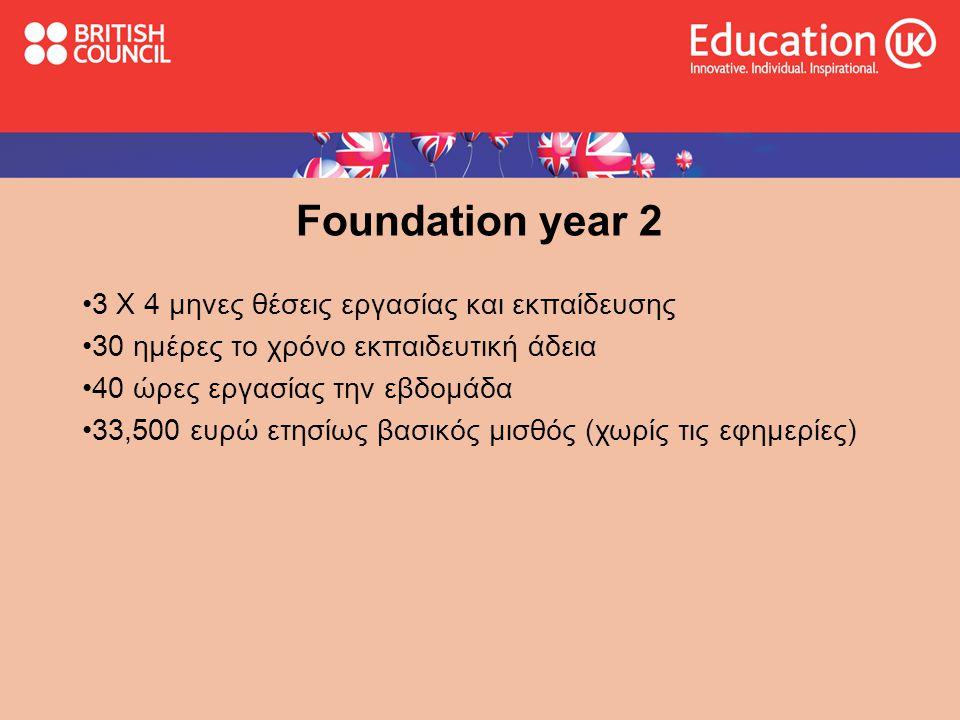 Foundation year 2 •3 Χ 4 μηνες θέσεις εργασίας και εκπαίδευσης •30 ημέρες το χρόνο εκπαιδευτική άδεια •40 ώρες εργασίας την εβδομάδα •33,500 ευρώ ετησ
