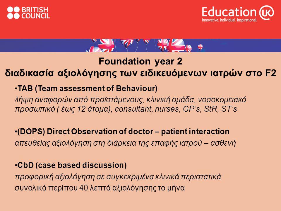 Foundation year 2 διαδικασία αξιολόγησης των ειδικευόμενων ιατρών στο F2 •TAB (Team assessment of Behaviour) λήψη αναφορών από προϊστάμενους, κλινική ομάδα, νοσοκομειακό προσωπικό ( έως 12 άτομα), consultant, nurses, GP's, StR, ST's •(DOPS) Direct Observation of doctor – patient interaction απευθείας αξιολόγηση στη διάρκεια της επαφής ιατρού – ασθενή •CbD (case based discussion) προφορική αξιολόγηση σε συγκεκριμένα κλινικά περιστατικά συνολικά περίπου 40 λεπτά αξιολόγησης το μήνα
