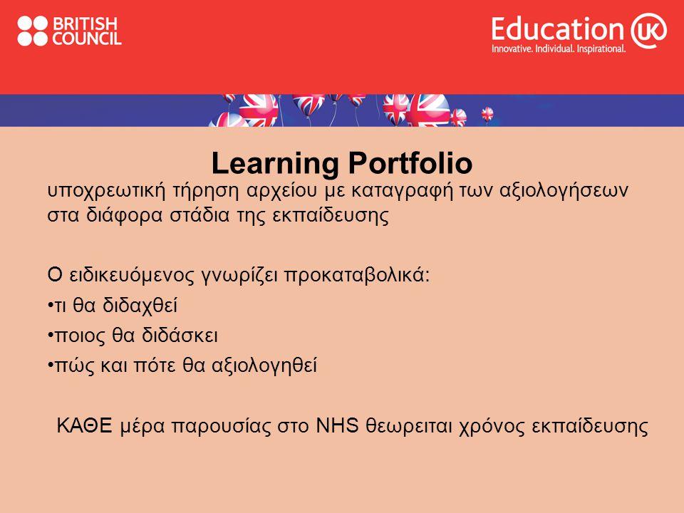 Learning Portfolio υποχρεωτική τήρηση αρχείου με καταγραφή των αξιολογήσεων στα διάφορα στάδια της εκπαίδευσης Ο ειδικευόμενος γνωρίζει προκαταβολικά: •τι θα διδαχθεί •ποιος θα διδάσκει •πώς και πότε θα αξιολογηθεί ΚΑΘΕ μέρα παρουσίας στο ΝΗS θεωρειται χρόνος εκπαίδευσης