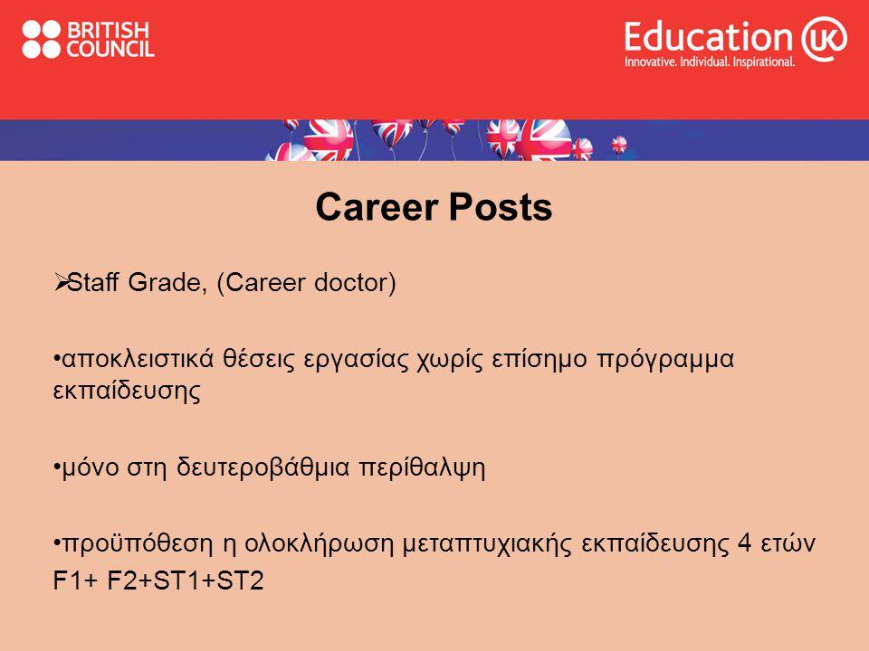 Career Posts  Staff Grade, (Career doctor) •αποκλειστικά θέσεις εργασίας χωρίς επίσημο πρόγραμμα εκπαίδευσης •μόνο στη δευτεροβάθμια περίθαλψη •προϋπόθεση η ολοκλήρωση μεταπτυχιακής εκπαίδευσης 4 ετών F1+ F2+ST1+ST2