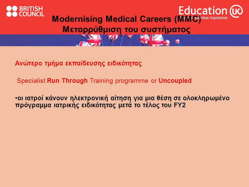 υπηρεσίες British Council Medical Consultancy Service Αιτήσεις προς τα Βρετανικά νοσοκομεία  Σχεδιασμός του επαγγελματικου πλάνου σύμφωνα με το επίπεδο εκπαίδευσης του ιατρού  specialised CV – προσωπική καθοδήγηση για τη διαμόρφωση εξειδικευμένου βιογραφικού σημειώματος-portfolio  Συμπλήρωση των ειδικών αιτήσεων και προώθηση στα Βρετανικά νοσοκομεία για διεκδίκηση έμμισθης και άμισθης θέσης εκπαίδευσης(observer attachment-electives)  Αναλυτικές πληροφορίες και τεχνικές συμβουλές για τη συνέντευξη