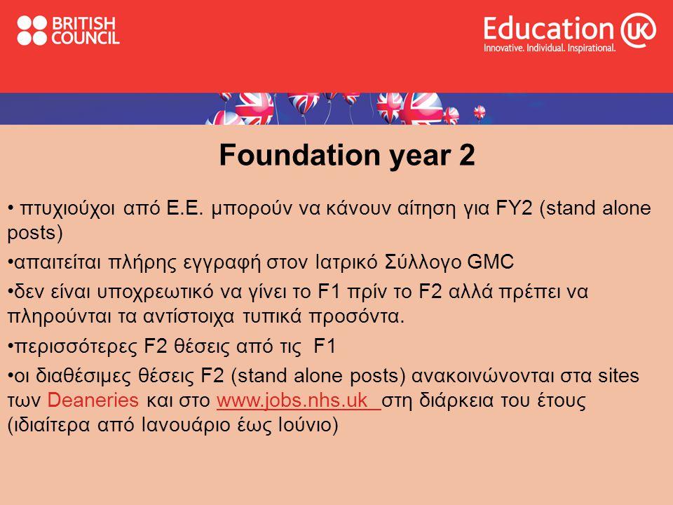 Foundation year 2 • πτυχιούχοι από Ε.Ε.