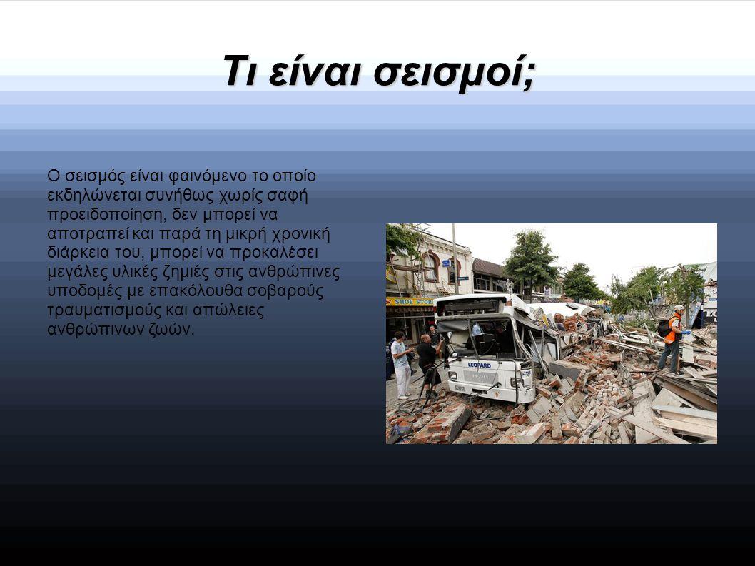 Επιπτώσεις τών σεισμών  Αξίζει να σημειωθεί ότι στην Ελλάδα ο σεισμός με τις περισσότερες ανθρώπινες απώλειες (3.550 νεκροί, 7.000 τραυματίες.)Εκτός όμως από τον τραυματισμό ή ακόμα και το θάνατο ανθρώπων κατά τη διάρκεια μιας σεισμικής δόνησης, θέμα προβληματισμού αποτελεί και η στάση και η συμπεριφορά του πληθυσμού τόσο την ώρα του σεισμού όσο και κατά τη μετασεισμική περίοδο.