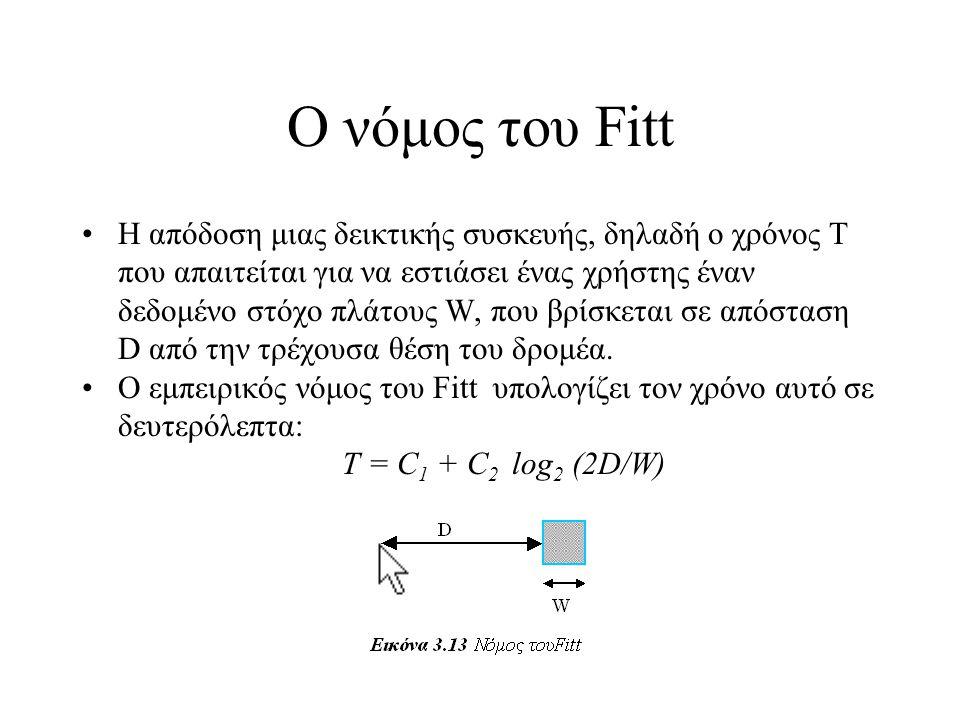 Ο νόμος του Fitt •Η απόδοση μιας δεικτικής συσκευής, δηλαδή ο χρόνος Τ που απαιτείται για να εστιάσει ένας χρήστης έναν δεδομένο στόχο πλάτους W, που