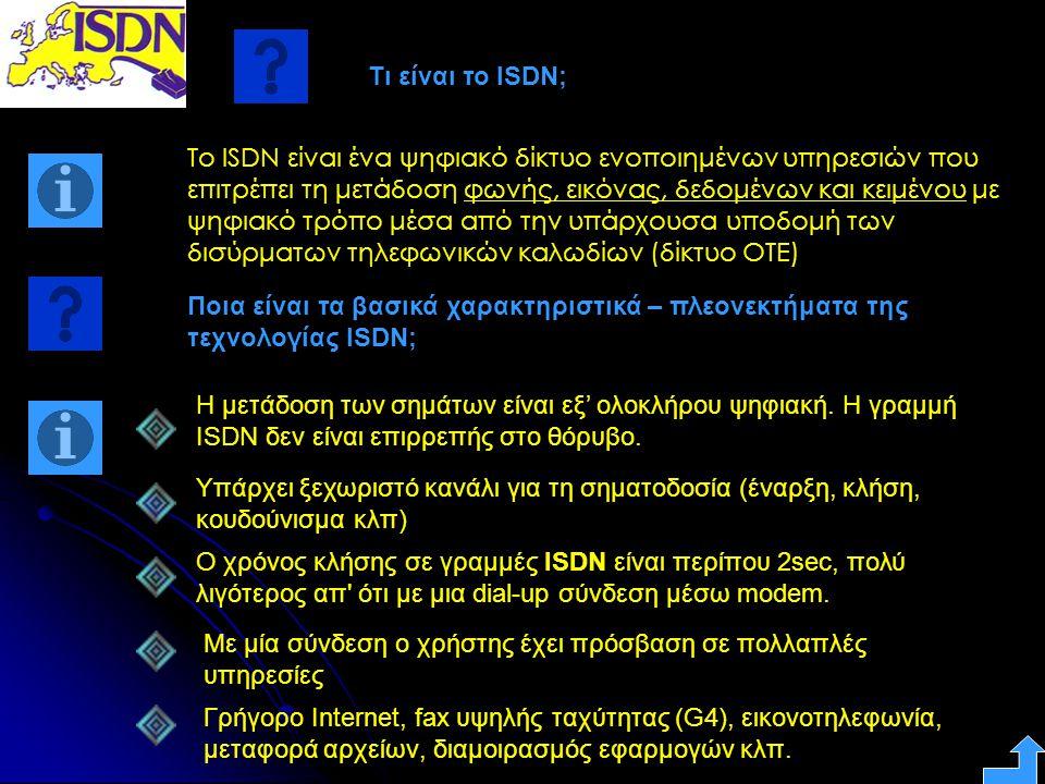 Τι είναι το ISDN; Το ISDN είναι ένα ψηφιακό δίκτυο ενοποιημένων υπηρεσιών που επιτρέπει τη μετάδοση φωνής, εικόνας, δεδομένων και κειμένου με ψηφιακό
