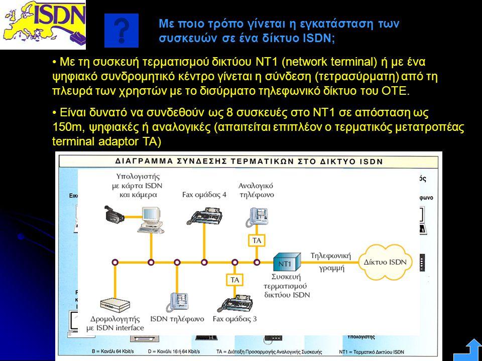 Με ποιο τρόπο γίνεται η εγκατάσταση των συσκευών σε ένα δίκτυο ISDN; • Με τη συσκευή τερματισμού δικτύου ΝΤ1 (network terminal) ή με ένα ψηφιακό συνδρ