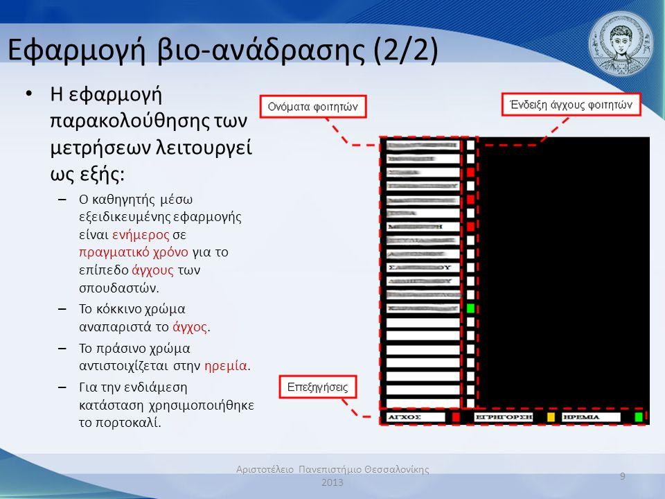 Εφαρμογή βιο-ανάδρασης (2/2) • Η εφαρμογή παρακολούθησης των μετρήσεων λειτουργεί ως εξής: – Ο καθηγητής μέσω εξειδικευμένης εφαρμογής είναι ενήμερος