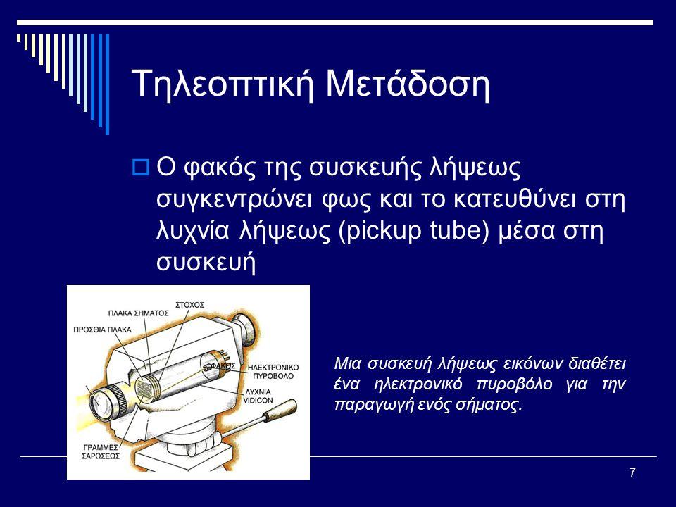 7 Τηλεοπτική Μετάδοση  Ο φακός της συσκευής λήψεως συγκεντρώνει φως και το κατευθύνει στη λυχνία λήψεως (pickup tube) μέσα στη συσκευή Μια συσκευή λήψεως εικόνων διαθέτει ένα ηλεκτρονικό πυροβόλο για την παραγωγή ενός σήματος.