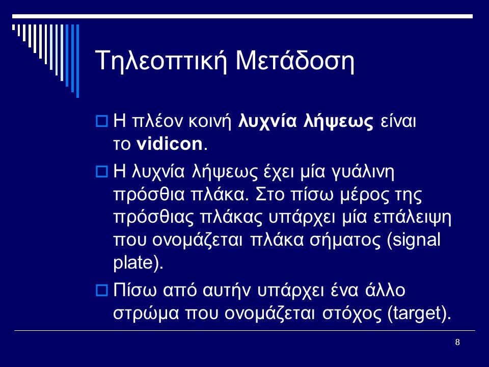 8 Τηλεοπτική Μετάδοση  Η πλέον κοινή λυχνία λήψεως είναι το vidicon.