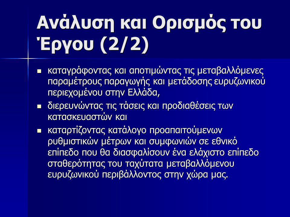 Ανάλυση και Ορισμός του Έργου (2/2)  καταγράφοντας και αποτιμώντας τις μεταβαλλόμενες παραμέτρους παραγωγής και μετάδοσης ευρυζωνικού περιεχομένου στην Ελλάδα,  διερευνώντας τις τάσεις και προδιαθέσεις των κατασκευαστών και  καταρτίζοντας κατάλογο προαπαιτούμενων ρυθμιστικών μέτρων και συμφωνιών σε εθνικό επίπεδο που θα διασφαλίσουν ένα ελάχιστο επίπεδο σταθερότητας του ταχύτατα μεταβαλλόμενου ευρυζωνικού περιβάλλοντος στην χώρα μας.