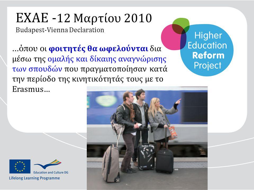 ΕΧΑΕ - 12 Μαρτίου 2010 Budapest-Vienna Declaration …όπου ο ι φοιτητές θα ωφελούνται δια μέσω της ομαλής και δίκαιης αναγνώρισης των σπουδών που πραγματοποίησαν κατά την περίοδο της κινητικότητάς τους με το Erasmus…