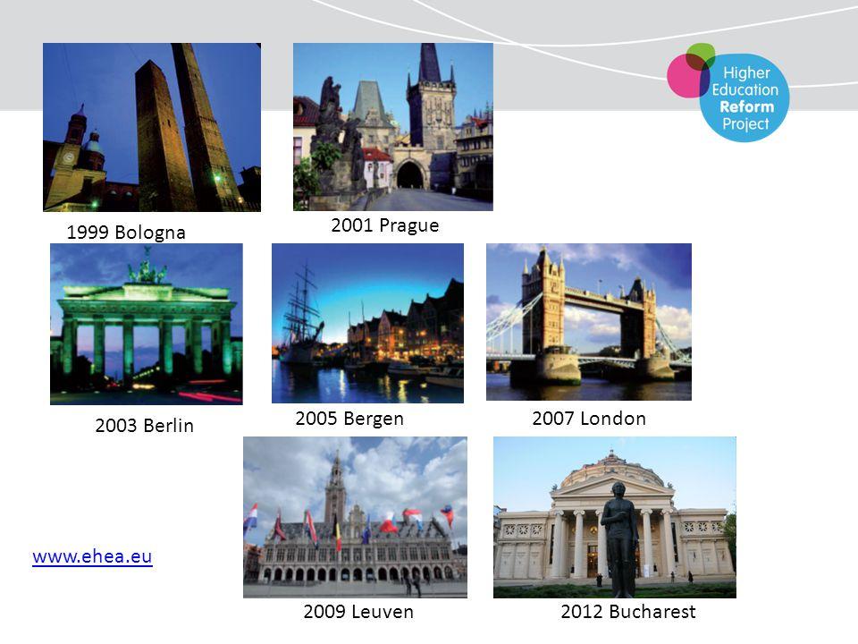 1999 Bologna 2001 Prague 2003 Berlin 2005 Bergen 2007 London 2009 Leuven 2012 Bucharest www.ehea.eu