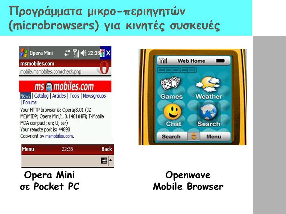 Προγράμματα μικρο-περιηγητών (microbrowsers) για κινητές συσκευές Opera Mini σε Pocket PC Openwave Mobile Browser