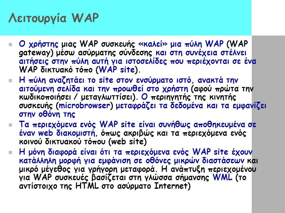 Λειτουργία WAP  Ο χρήστης μιας WAP συσκευής «καλεί» μια πύλη WAP (WAP gateway) μέσω ασύρματης σύνδεσης και στη συνέχεια στέλνει αιτήσεις στην πύλη αυ
