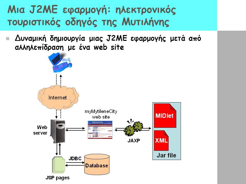 Μια J2ME εφαρμογή: ηλεκτρονικός τουριστικός οδηγός της Μυτιλήνης  Δυναμική δημιουργία μιας J2ME εφαρμογής μετά από αλληλεπίδραση με ένα web site