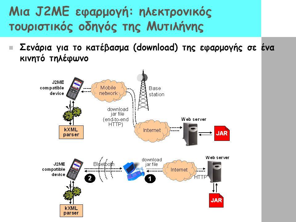 Μια J2ME εφαρμογή: ηλεκτρονικός τουριστικός οδηγός της Μυτιλήνης  Σενάρια για το κατέβασμα (download) της εφαρμογής σε ένα κινητό τηλέφωνο