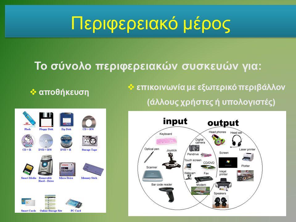 Περιφερειακό μέρος Το σύνολο περιφερειακών συσκευών για:  αποθήκευση  επικοινωνία με εξωτερικό περιβάλλον (άλλους χρήστες ή υπολογιστές)