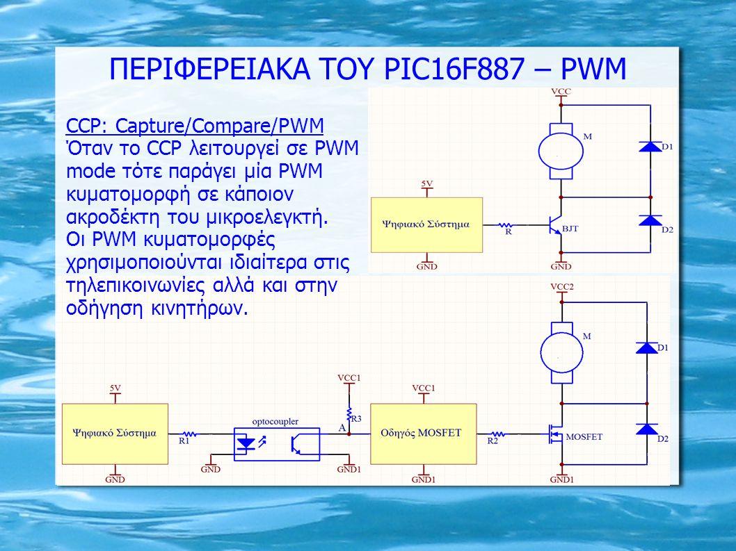 CCP: Capture/Compare/PWM Όταν το CCP λειτουργεί σε PWM mode τότε παράγει μία PWM κυματομορφή σε κάποιον ακροδέκτη του μικροελεγκτή. Οι PWM κυματομορφέ