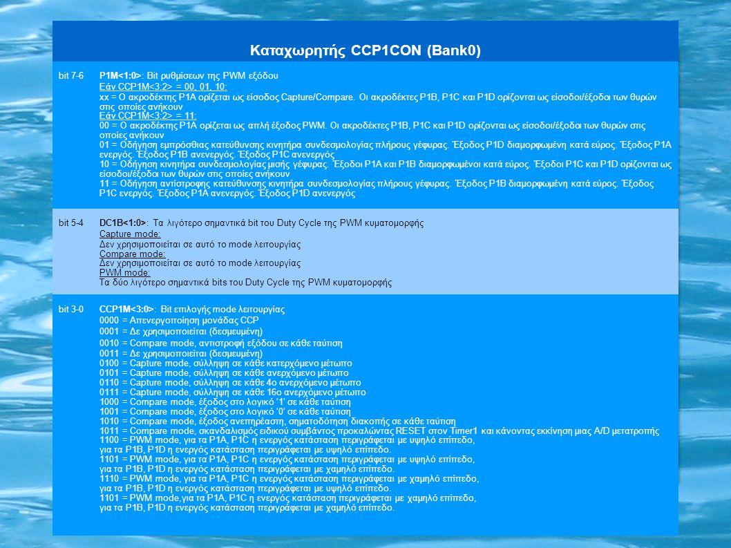 Καταχωρητής CCP1CON (Bank0) bit 7-6P1M : Bit ρυθμίσεων της PWM εξόδου Εάν CCP1M = 00, 01, 10: xx = Ο ακροδέκτης P1A ορίζεται ως είσοδος Capture/Compar
