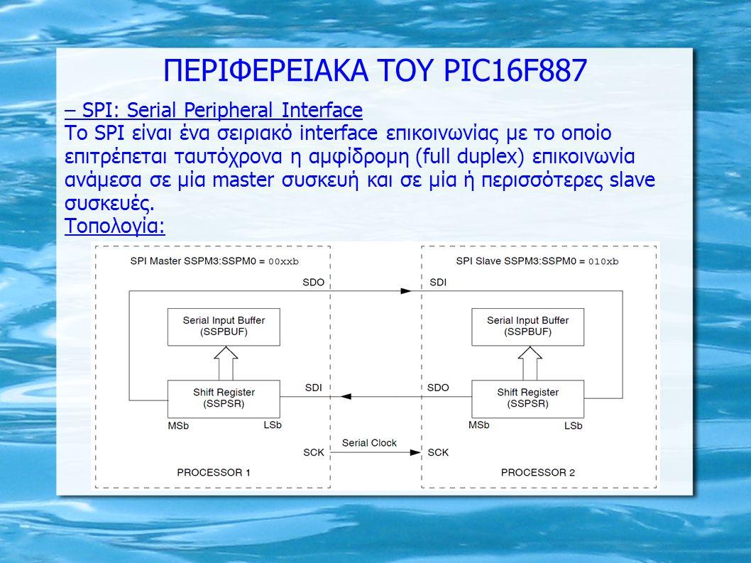 – SPI: Serial Peripheral Interface Το SPI είναι ένα σειριακό interface επικοινωνίας με το οποίο επιτρέπεται ταυτόχρονα η αμφίδρομη (full duplex) επικο