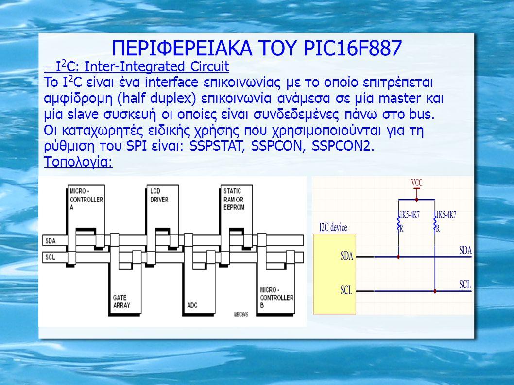 – I 2 C: Inter-Integrated Circuit To I 2 C είναι ένα interface επικοινωνίας με το οποίο επιτρέπεται αμφίδρομη (half duplex) επικοινωνία ανάμεσα σε μία