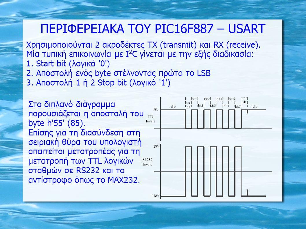 Χρησιμοποιούνται 2 ακροδέκτες ΤΧ (transmit) και RX (receive). Μία τυπική επικοινωνία με I 2 C γίνεται με την εξής διαδικασία: 1. Start bit (λογικό '0'