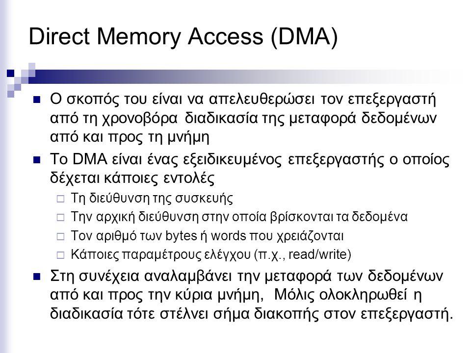 Direct Memory Access (DMA)  Ο σκοπός του είναι να απελευθερώσει τον επεξεργαστή από τη χρονοβόρα διαδικασία της μεταφορά δεδομένων από και προς τη μνήμη  Το DMA είναι ένας εξειδικευμένος επεξεργαστής ο οποίος δέχεται κάποιες εντολές  Τη διεύθυνση της συσκευής  Την αρχική διεύθυνση στην οποία βρίσκονται τα δεδομένα  Τον αριθμό των bytes ή words που χρειάζονται  Κάποιες παραμέτρους ελέγχου (π.χ., read/write)  Στη συνέχεια αναλαμβάνει την μεταφορά των δεδομένων από και προς την κύρια μνήμη, Μόλις ολοκληρωθεί η διαδικασία τότε στέλνει σήμα διακοπής στον επεξεργαστή.