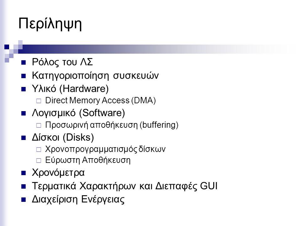 Περίληψη  Ρόλος του ΛΣ  Κατηγοριοποίηση συσκευών  Υλικό (Hardware)  Direct Memory Access (DMA)  Λογισμικό (Software)  Προσωρινή αποθήκευση (buff