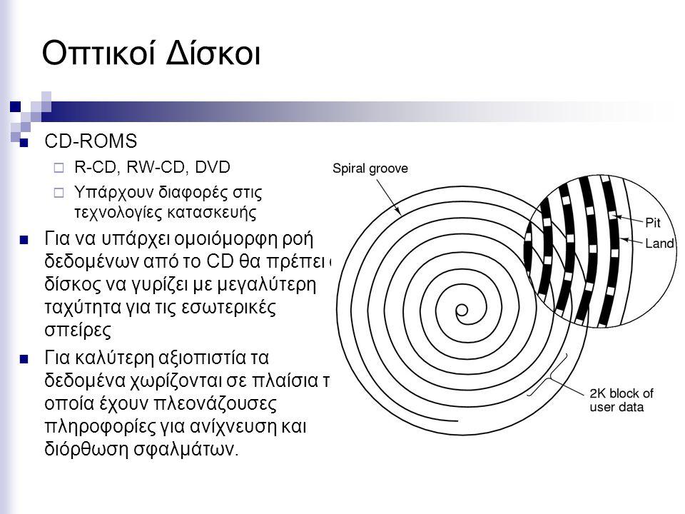 Οπτικοί Δίσκοι  CD-ROMS  R-CD, RW-CD, DVD  Υπάρχουν διαφορές στις τεχνολογίες κατασκευής  Για να υπάρχει ομοιόμορφη ροή δεδομένων από το CD θα πρέπει ο δίσκος να γυρίζει με μεγαλύτερη ταχύτητα για τις εσωτερικές σπείρες  Για καλύτερη αξιοπιστία τα δεδομένα χωρίζονται σε πλαίσια τα οποία έχουν πλεονάζουσες πληροφορίες για ανίχνευση και διόρθωση σφαλμάτων.
