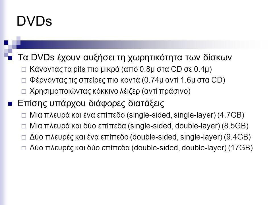 DVDs  Tα DVDs έχουν αυξήσει τη χωρητικότητα των δίσκων  Κάνοντας τα pits πιο μικρά (από 0.8μ στα CD σε 0.4μ)  Φέρνοντας τις σπείρες πιο κοντά (0.74μ αντί 1.6μ στα CD)  Χρησιμοποιώντας κόκκινο λέιζερ (αντί πράσινο)  Επίσης υπάρχου διάφορες διατάξεις  Μια πλευρά και ένα επίπεδο (single-sided, single-layer) (4.7GB)  Μια πλευρά και δύο επίπεδα (single-sided, double-layer) (8.5GB)  Δύο πλευρές και ένα επίπεδο (double-sided, single-layer) (9.4GB)  Δύο πλευρές και δύο επίπεδα (double-sided, double-layer) (17GB)
