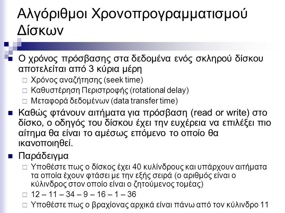 Αλγόριθμοι Χρονοπρογραμματισμού Δίσκων  Ο χρόνος πρόσβασης στα δεδομένα ενός σκληρού δίσκου αποτελείται από 3 κύρια μέρη  Χρόνος αναζήτησης (seek time)  Καθυστέρηση Περιστροφής (rotational delay)  Μεταφορά δεδομένων (data transfer time)  Καθώς φτάνουν αιτήματα για πρόσβαση (read or write) στο δίσκο, ο οδηγός του δίσκου έχει την ευχέρεια να επιλέξει πιο αίτημα θα είναι το αμέσως επόμενο το οποίο θα ικανοποιηθεί.