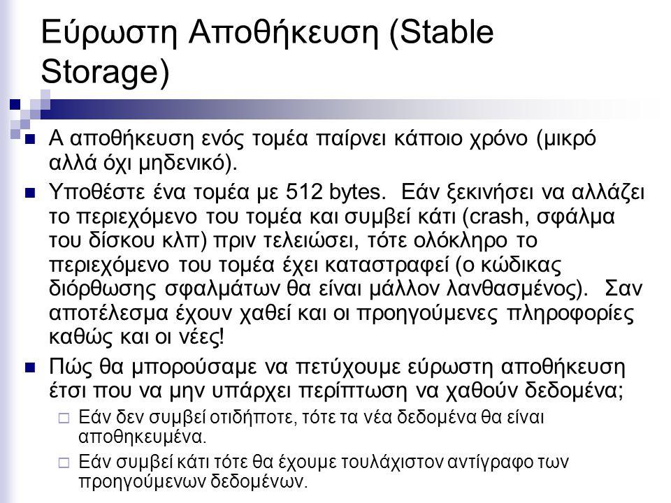 Εύρωστη Αποθήκευση (Stable Storage)  Α αποθήκευση ενός τομέα παίρνει κάποιο χρόνο (μικρό αλλά όχι μηδενικό).  Υποθέστε ένα τομέα με 512 bytes. Εάν ξ