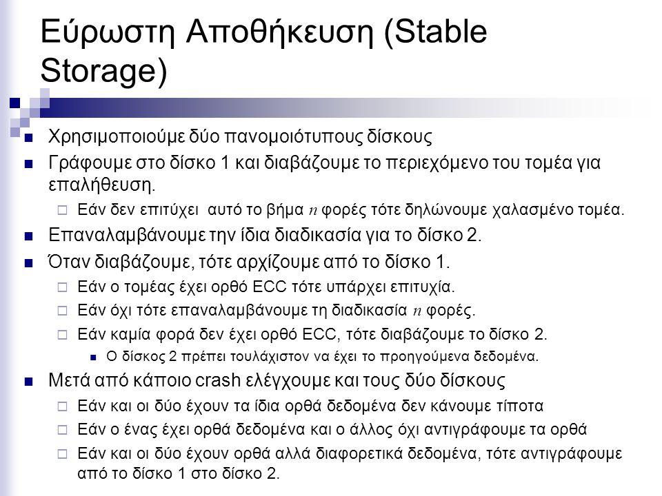 Εύρωστη Αποθήκευση (Stable Storage)  Χρησιμοποιούμε δύο πανομοιότυπους δίσκους  Γράφουμε στο δίσκο 1 και διαβάζουμε το περιεχόμενο του τομέα για επαλήθευση.