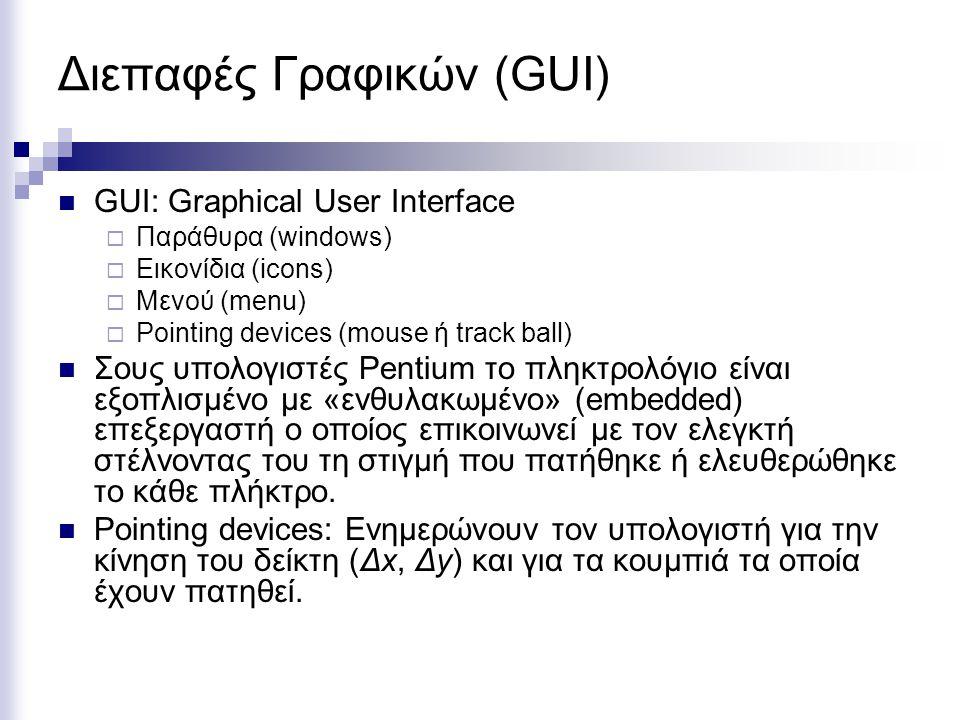Διεπαφές Γραφικών (GUI)  GUI: Graphical User Interface  Παράθυρα (windows)  Εικονίδια (icons)  Μενού (menu)  Pointing devices (mouse ή track ball